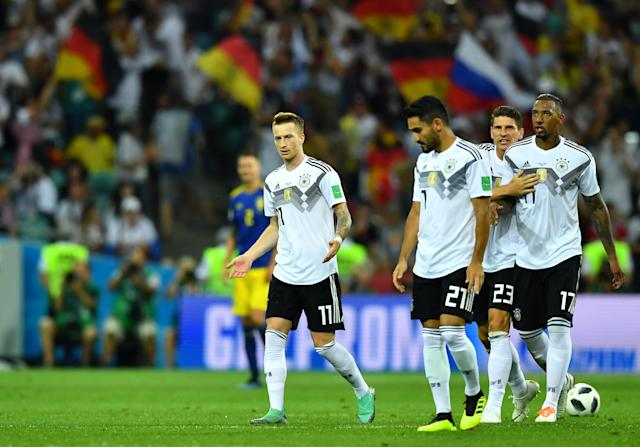 Soccer Football - World Cup - Group F - Germany vs Sweden - Fisht Stadium, Sochi, Russia - June 23, 2018 Germany's Marco Reus celebrates with team mates after scoring their first goal REUTERS/Dylan Martinez
