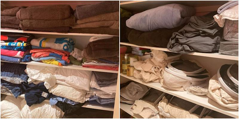 The inside of a linen cupboard in Johanna Griggs' house