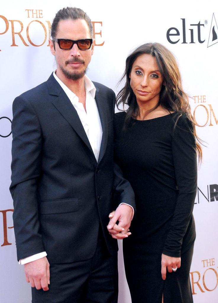 HOLLYWOOD, CA - APRIL 12: (L-R) Recording artist Chris Cornell and wife Vicky Karayiannis attend premiere of Open Roads Films' 'The Promise' at TCL Chinese Theatre on April 12, 2017 in Hollywood, California. (Photo by Barry King/Getty Images)
