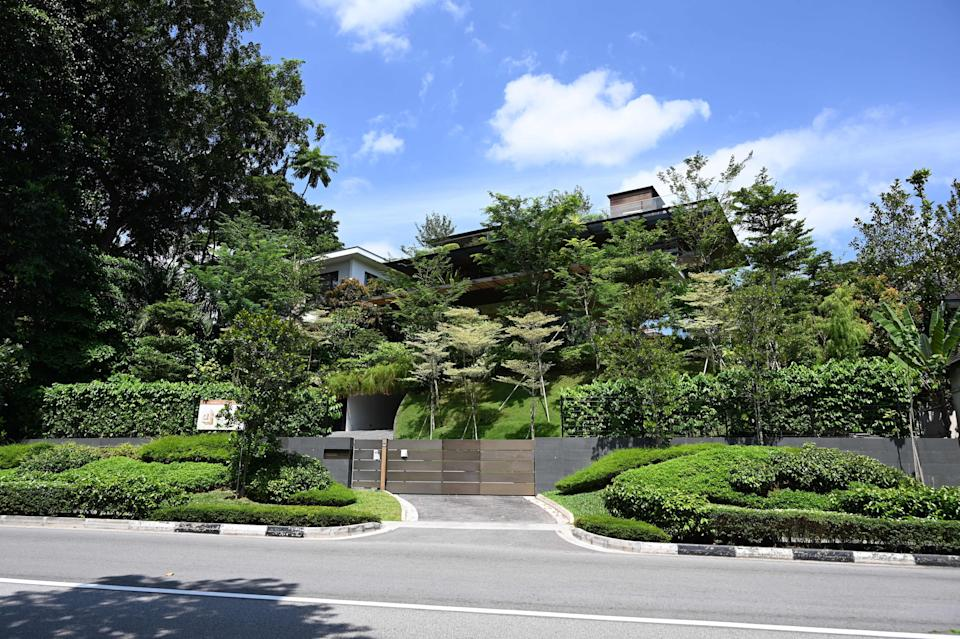 A view of a bungalow, which British inventor James Dyson is buying, is seen near the Singapore Botanical Garden in Singapore on July 26, 2019. - British inventor James Dyson is buying the luxury Singapore house with an indoor waterfall that was marketed for $32 million, a report said on July 26, weeks after he snapped up the city-state's priciest penthouse. (Photo by Roslan RAHMAN / AFP)        (Photo credit should read ROSLAN RAHMAN/AFP via Getty Images)
