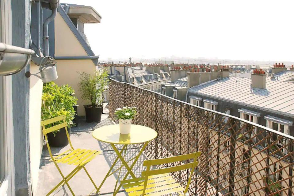 """<p>Check into this lovely little apartment and you can spend your days staring at the views from its delightful terrace. Set in the ever-loved neighbourhood of Montmartre, the apartment is bathed in light and is reached via a lift that takes you to its seventh floor location. It's located at the bottom of Sacre Coeur on a calm street away from the crowds. </p><p><strong>Sleeps:</strong> 3</p><p><strong>Price per night: </strong>£98</p><p><a class=""""link rapid-noclick-resp"""" href=""""https://airbnb.pvxt.net/kjaB5v"""" rel=""""nofollow noopener"""" target=""""_blank"""" data-ylk=""""slk:SEE INSIDE"""">SEE INSIDE</a></p>"""