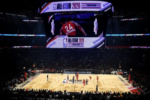 (FILES) In this file photo taken on February 17, 2020 a general view before the 69th NBA All-Star Game at the United Center on February 16, 2020 in Chicago, Illinois. The NBA has suspended play indefinitely after a Utah Jazz player preliminarily tested positive for the new coronavirus