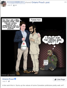 A cartoon shows Trudeau with his arm around Omar Khadr with a wounded veteran in the background.