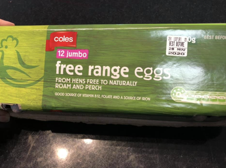 A Coles carton of free range eggs a customer speculated had been coloured.