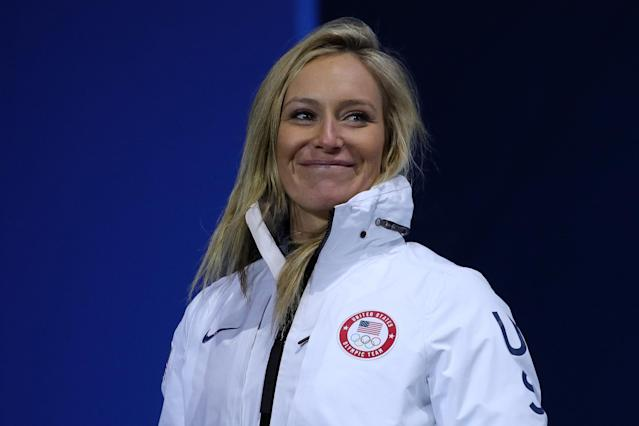 <p>Gold medalist Jamie Anderson of the United States looks on during the medal ceremony for Snowboard Ladies' Slopestyle at Medal Plaza on February 12, 2018 in Pyeongchang-gun, South Korea. (Photo by Andreas Rentz/Getty Images) </p>