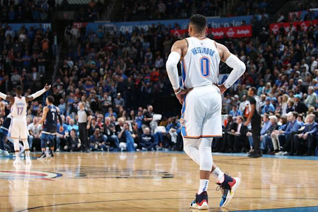 Russell Westbrook has been a triple-double machine — but his value in category leagues is taking a big hit. (Photo by Zach Beeker/NBAE via Getty Images)