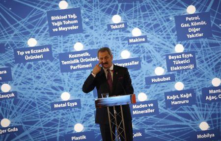 Turkey's Economy Minister Zafer Caglayan speaks during a news conference in Istanbul