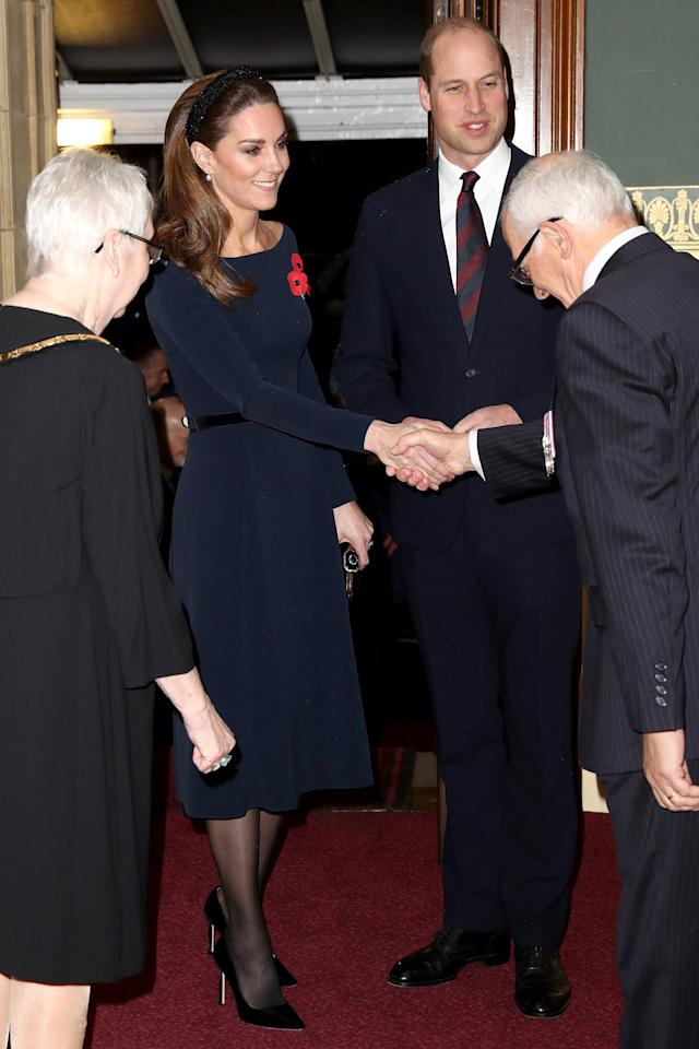 """The Duchess of Cambridge wore a <a href=""""https://m.zara.com/uk/en/padded-rhinestone-headband-p00653231.html?v1=33838314&v2=1281588"""" target=""""_blank"""" rel=""""nofollow"""">black headband from Zara</a> to the Remembrance Service on Nov. 9, 2019, when she joined husband Prince William as well as Meghan Markle and Prince Harry."""