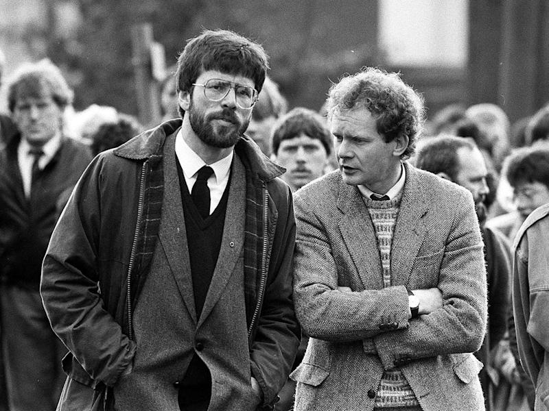 President of Sinn Fein, Gerry Adams and West Belfast MP Martin McGuinness at the funeral of Patrick Kelly, the reputed IRA commander in East Tyrone (PA)