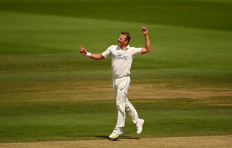 SOUTHAMPTON, ENGLAND - JUNE 23: Neil Wagner of New Zealand reacts during the Reserve Day of the ICC World Test Championship Final between India and New Zealand at The Hampshire Bowl on June 23, 2021 in Southampton, England. (Photo by Alex Davidson/Getty Images)