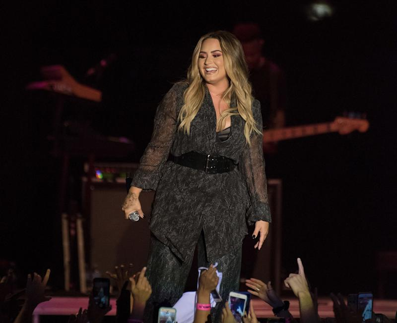 Demi Lovato performs at at her2018 California Mid-State Fair last concert before entering rehab. (Photo: C Flanigan via Getty Images)