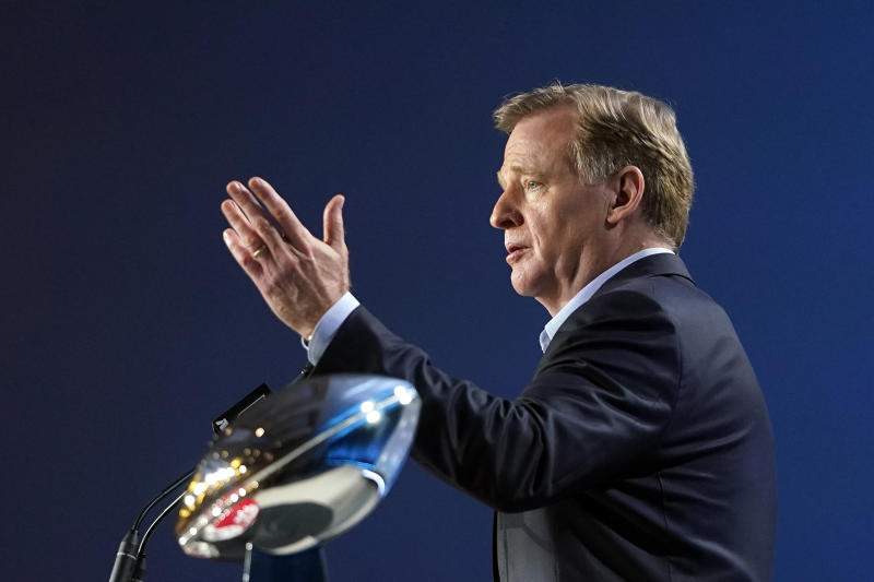 NFL Commissioner Roger Goodell answers a question during a news conference before Super Bowl LIV. (AP Photo/David J. Phillip)