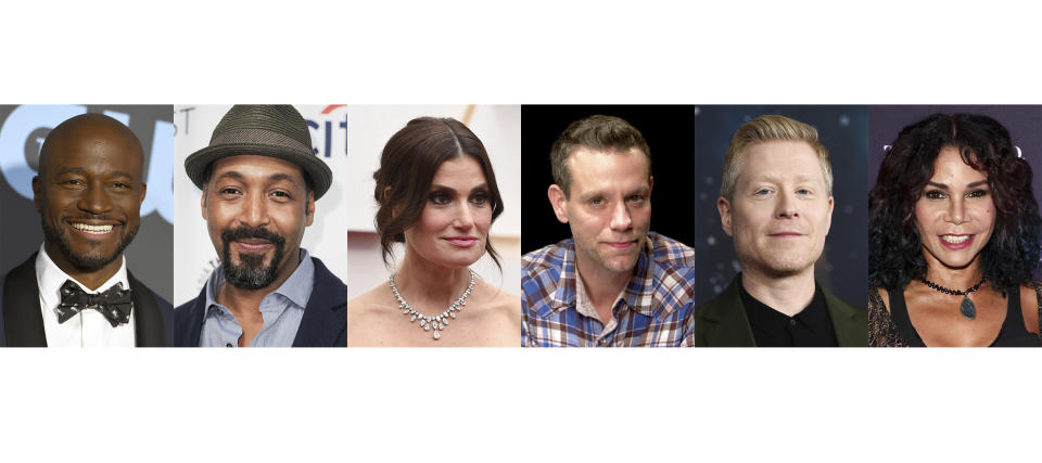 """This combination photo shows notable cast members from the musical """"Rent,"""" from left, Taye Diggs, Jesse L. Martin, Idina Menzel, Adam Pascal, Anthony Rapp and Daphne Rubin-Vega. The New York Theater Workshop will celebrate the 25th anniversary of """"Rent"""" with a gala on March 2 that will be available to stream through March 6. (AP Photo)"""