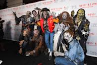 "<p>Last year Klum and her friends dressed up as the cast of the ""Thriller"" video—and entered the party doing the entire dance, as one does.</p> <p><strong>Get the look:</strong> <a href=""https://www.ae.com/clearance-tailgate-women-s-east-carolina-bomber-jacket-charcoal/web/s-prod/1035_6545_008?cm=sUS-cUSD&catId=cat8640055&cid=AE_PLA_3370156&ip=off&pup_e=1&pup_ptid=475567895006&pup_kw=&pup_c=pla&pup_cid=39018&pup_id=1035-6545-008-3000&mkwid=s_dc%7Cpcrid%7C153571594789%7Cpkw%7C%7Cpmt%7C&cid=tailgate_SRC_Brand_Shopping%202.0&gclid=EAIaIQobChMI0a_RhOPb3QIVB1YMCh0lhwUQEAQYByABEgJr_vD_BwE"" rel=""nofollow noopener"" target=""_blank"" data-ylk=""slk:Tailgate Women's East Carolina Bomber Jacket, American Eagle Aerie ($44.75)"" class=""link rapid-noclick-resp"">Tailgate Women's East Carolina Bomber Jacket, American Eagle Aerie ($44.75)</a>, <a href=""https://amzn.to/2R52EnN"" rel=""nofollow noopener"" target=""_blank"" data-ylk=""slk:Face-Painting Kit, Amazon ($11.99)"" class=""link rapid-noclick-resp"">Face-Painting Kit, Amazon ($11.99)</a>, <a href=""https://amzn.to/2Qe6cmB"" rel=""nofollow noopener"" target=""_blank"" data-ylk=""slk:Mildiso Gray Ombre Wavy Wig, Amazon ($16.90)"" class=""link rapid-noclick-resp"">Mildiso Gray Ombre Wavy Wig, Amazon ($16.90)</a>, <a href=""https://www.express.com/clothing/women/high-waisted-flower-ripped-original-girlfriend-jeans/pro/09088172C/color/LIGHT%20WASH/?mrkgcl=638&mrkgadid=3251755857&CID=SEM_Goo-PLA-F-Main-Retail-91-000-Jeans-US-Product-NA&SearchID=Goo-PLA-F-Main-Retail-91-000-Jeans-US-Product-NA&product_id=13950767&adpos=1o3&creative=230567802469&device=c&matchtype=&network=g&programId=101188755&merchantId=41548191&affiliateid=101184100&gclid=EAIaIQobChMIue7I3-Pb3QIVCSSGCh2FaQ3HEAQYAyABEgK4nvD_BwE"" rel=""nofollow noopener"" target=""_blank"" data-ylk=""slk:High-Waist Ripped Original Girlfriend Jeans, Express ($49.99)"" class=""link rapid-noclick-resp"">High-Waist Ripped Original Girlfriend Jeans, Express ($49.99)</a>, <a href=""https://amzn.to/2IkMHGi"" rel=""nofollow noopener"" target=""_blank"" data-ylk=""slk:Sakkas Women's Crew Socks, Amazon ($10.99)"" class=""link rapid-noclick-resp"">Sakkas Women's Crew Socks, Amazon ($10.99)</a>, and <a href=""https://us.asos.com/asos-design/asos-design-vegan-friendly-tassel-loafers-in-black-faux-suede/prd/5262376?clr=black&SearchQuery=black%20loafers&gridcolumn=1&gridrow=1&gridsize=4&pge=1&pgesize=72&totalstyles=236"" rel=""nofollow noopener"" target=""_blank"" data-ylk=""slk:Asos Design Vegan Black Loafers, Asos ($40)"" class=""link rapid-noclick-resp"">Asos Design Vegan Black Loafers, Asos ($40)</a></p>"