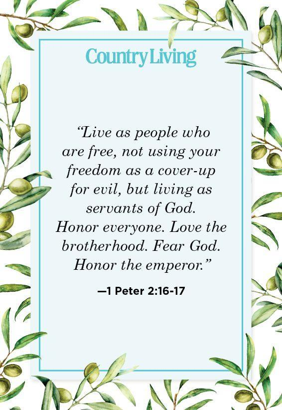 """<p>""""Live as people who are free, not using your freedom as a cover-up for evil, but living as servants of God. Honor everyone. Love the brotherhood. Fear God. Honor the emperor.""""</p>"""