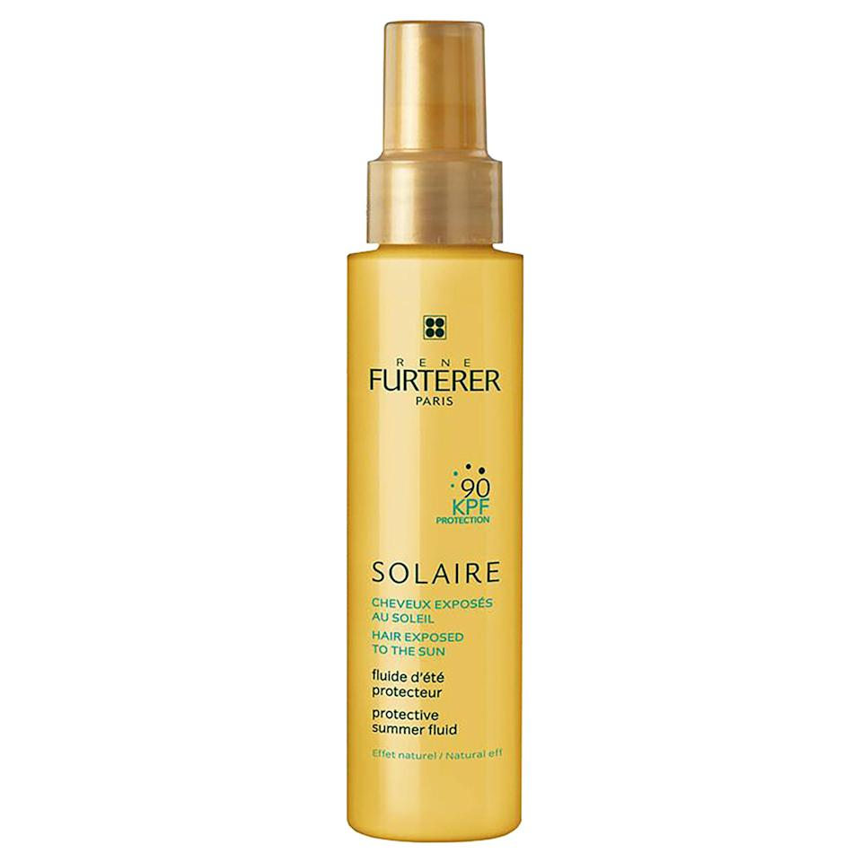 """<p>With a short list of ingredients, this mist uses only the essentials — UV blockers (octinoxate) and plant-derived oils (sesame and castor) to nurture hair and scalp on sunny days. Use Rene Furterer Solaire Protective Summer Oil on damp or dry hair and reapply as your heart desires.</p> <p><strong>$26</strong> (<a href=""""https://shop-links.co/1639253963247936294"""" rel=""""nofollow noopener"""" target=""""_blank"""" data-ylk=""""slk:Shop Now"""" class=""""link rapid-noclick-resp"""">Shop Now</a>)</p>"""