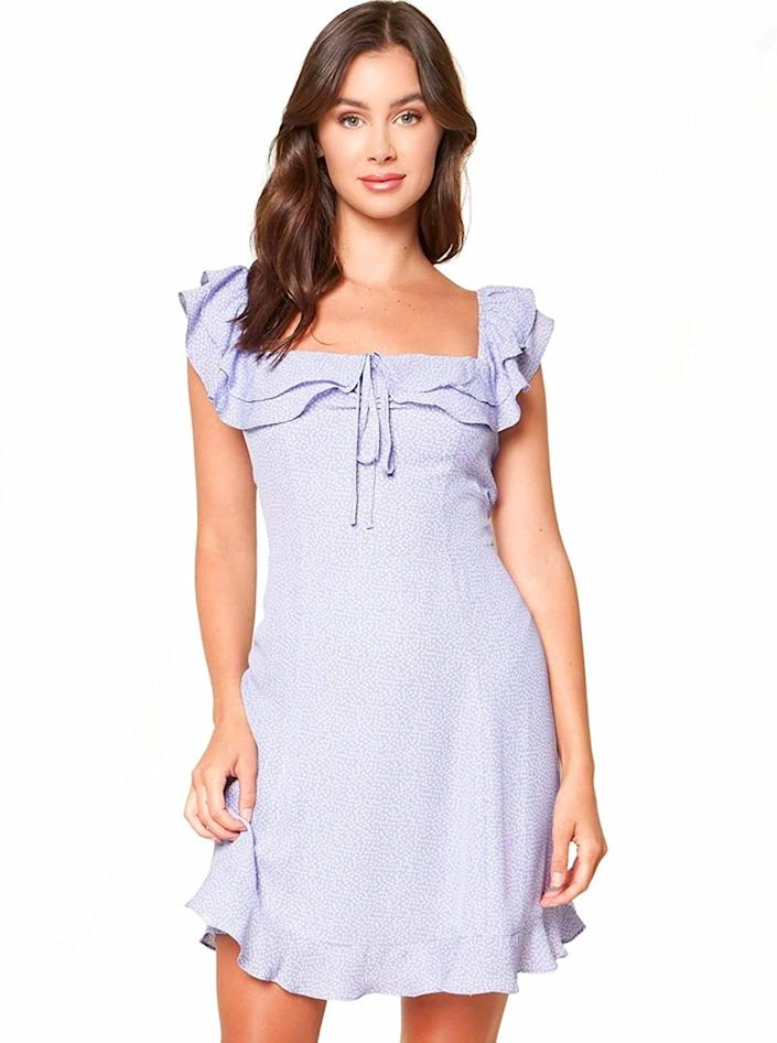 """Last but not least, a pastel mini dress to finish things on a light and airy note. $32, Amazon. <a href=""""https://www.amazon.com/Sugar-Lips-Womens-Shoulder-Lavender/dp/B08917N49S/ref="""" rel=""""nofollow noopener"""" target=""""_blank"""" data-ylk=""""slk:Get it now!"""" class=""""link rapid-noclick-resp"""">Get it now!</a>"""