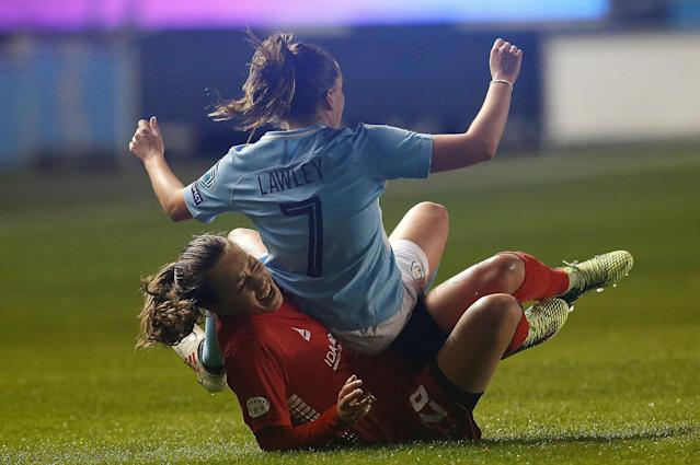 Soccer Football - Women's Champions League Quarter Final First Leg - Manchester City vs Linkoping - Academy Stadium, Manchester, Britain - March 21, 2018 Linkoping's Elin Landstrom in action with Manchester City's Melissa Lawley Action Images via Reuters/Craig Brough