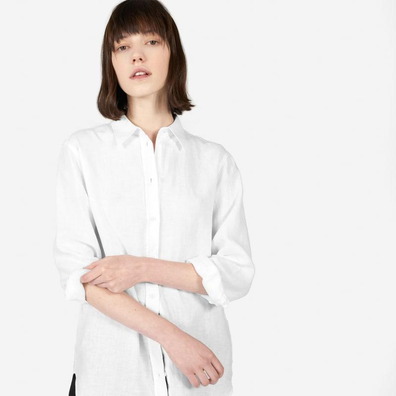 """<h2>Everlane The Relaxed Linen Shirt</h2><br><strong>The Best Linen White Button-Down</strong><br>If you sweat or get hot easily (but still need to look presentable), get yourself a white button-down in the naturally cooling fabric of linen.<br><br><strong>The Hype:</strong> 4.61 out of 5 stars and 419 reviews on Everlane<br><br><strong>What They're Saying:</strong> """"This is reasonably stiff linen that still fits, falls, and breathes nicely. I live in the Southern US, and sweat still rolls down your back (it would even if you were naked), but you don't feel overheated or swampy. It's linen so you get the (I think) charming wrinkles of natural fabric, and it tucks in well. This is designed to bring — and achieves — the effortlessly cool, confident look whether it's tucked, untucked, or half-tucked. Super love this one.""""<br><br><strong>Everlane</strong> The Linen Relaxed Shirt, $, available at <a href=""""https://go.skimresources.com/?id=30283X879131&url=https%3A%2F%2Fwww.everlane.com%2Fproducts%2Fwomens-relaxed-linen-shirt-white%3Fcollection%3Dwomens-tops"""" rel=""""nofollow noopener"""" target=""""_blank"""" data-ylk=""""slk:Everlane"""" class=""""link rapid-noclick-resp"""">Everlane</a>"""
