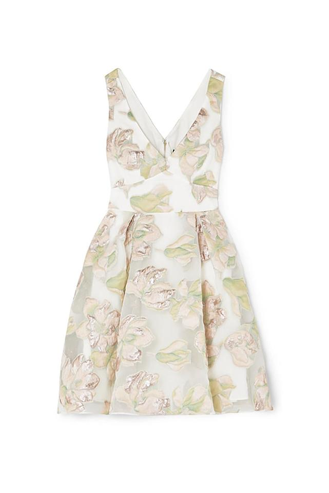 """<p><strong>Marchesa Notte</strong></p><p>net-a-porter.com</p><p><strong>$208.50</strong></p><p><a href=""""https://go.redirectingat.com?id=74968X1596630&url=https%3A%2F%2Fwww.net-a-porter.com%2Fus%2Fen%2Fproduct%2F1130096&sref=http%3A%2F%2Fwww.marieclaire.com%2Ffashion%2Fg14406660%2Fcocktail-attire-for-women%2F"""" target=""""_blank"""">SHOP IT</a></p><p>Follow Alexa's lead and slip into this metallic floral pleated dress. The bubble skirt keeps the piece feeling youthful while the cutout in the back gives it a more daring element. This cocktail mini will look great with barely-there heels. </p>"""