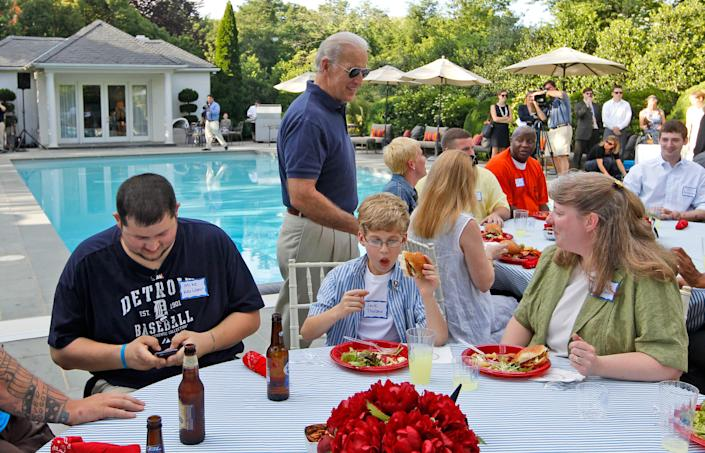 Joe Biden arrives at a barbecue for wounded service members from Walter Reed Army Medical Center and their families at the Naval Observatory on May 25, 2010.