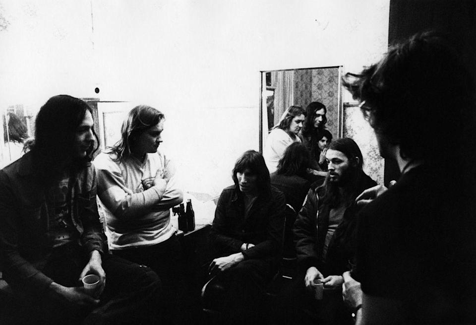 <p>Pink Floyd's Robbie Williams, Mick Kluczinsky, Roger Waters, Rick Wright (visible in mirror), David Gilmour backstage in Burmingham on December 4, 1974.</p>