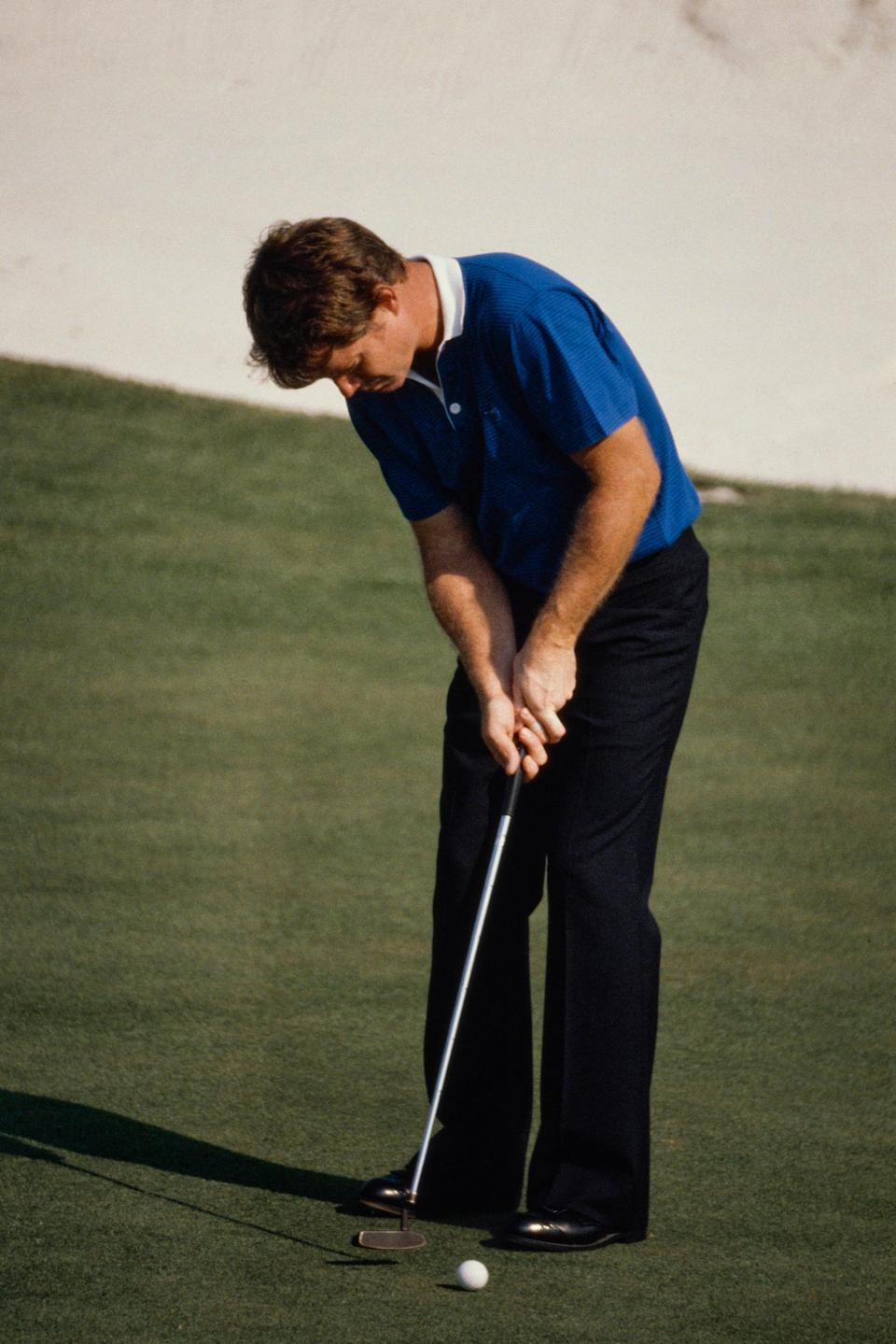 Tom Watson makes a putt at Augusta National on Friday, April 10, 1981.