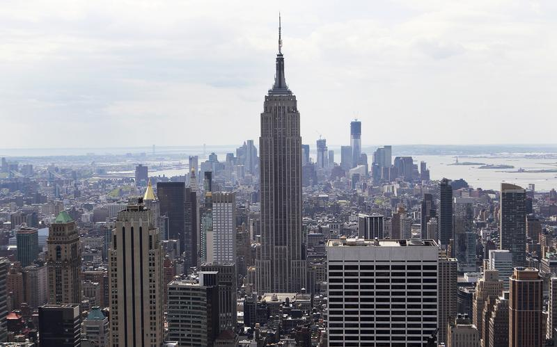 The Empire State Building is seen from the Top of The Rock in New York