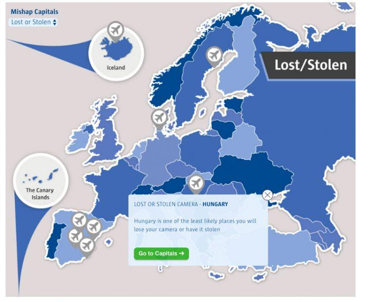 Countries where you are more likely to lose something or have it stolen (Source: comparethemarket.com)