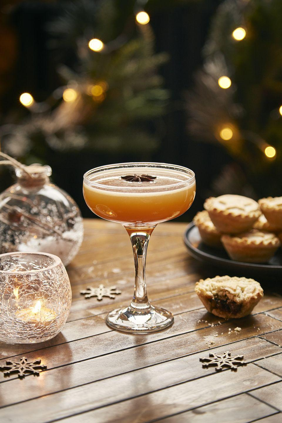 """<p>First, make a mince pie pastry syrup by crumbling three mince pies into a pan with 350ml water and 150ml sugar, leaving on a low heat for 25 minutes before straining. </p><p>To make the cocktail, combine 35ml <a href=""""https://www.waitrose.com/ecom/products/discarded-sweet-cascara-vermouth/802286-714356-714357"""" rel=""""nofollow noopener"""" target=""""_blank"""" data-ylk=""""slk:Discarded Sweet Cascara Vermouth"""" class=""""link rapid-noclick-resp"""">Discarded Sweet Cascara Vermouth</a>, 15ml <a href=""""https://www.ocado.com/products/discarded-banana-rum-508619011"""" rel=""""nofollow noopener"""" target=""""_blank"""" data-ylk=""""slk:Banana Peel Rum,"""" class=""""link rapid-noclick-resp"""">Banana Peel Rum,</a> 20ml pie pastry syrup and 25ml lemon in a shaker. Shake before fine straining into a coupe and dusting with icing sugar.<br></p>"""