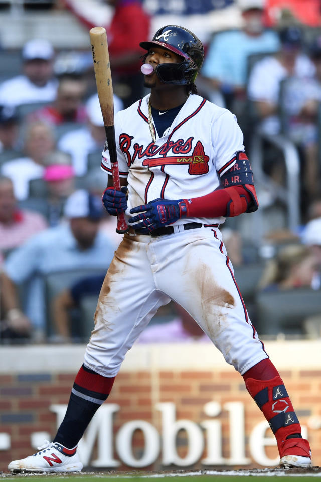 Atlanta Braves center fielder Ronald Acuna Jr. (13) prepares to bat in the second inning during Game 1 of a best-of-five National League Division Series against the St. Louis Cardinals, Thursday, Oct. 3, 2019, in Atlanta. (AP Photo/John Amis)