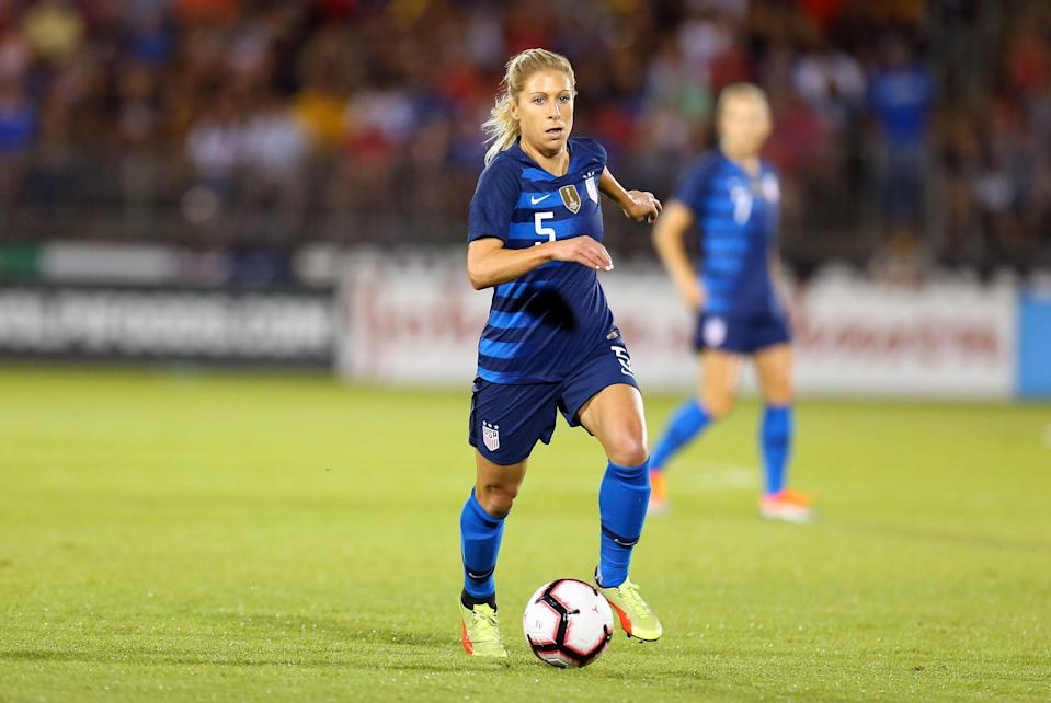 EAST HARTFORD, CT - JULY 29: United States midfielder McCall Zerboni (5) in action during a friendly match between Australia and United States on July 29, 2018, at Pratt & Whitney Stadium in East Hartford, CT. Australia and United States played to a 1-1 draw. (Photo by M. Anthony Nesmith/Icon Sportswire via Getty Images)