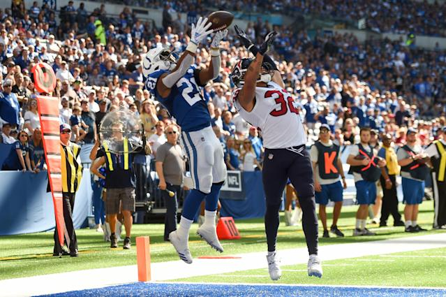 <p>Nyheim Hines #21 of the Indianapolis Colts makes the reception for a touchdown in the third quarter of the game against the Houston Texans at Lucas Oil Stadium on September 30, 2018 in Indianapolis, Indiana. (Photo by Bobby Ellis/Getty Images) </p>