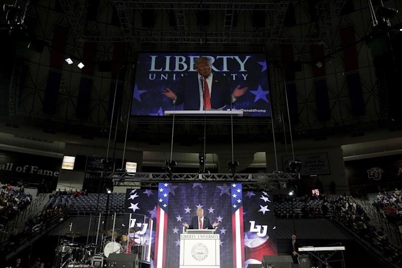 Donald Trump (then a candidate for the presidency) speaks at Liberty University in Lynchburg, Virginia, January 18, 2016.