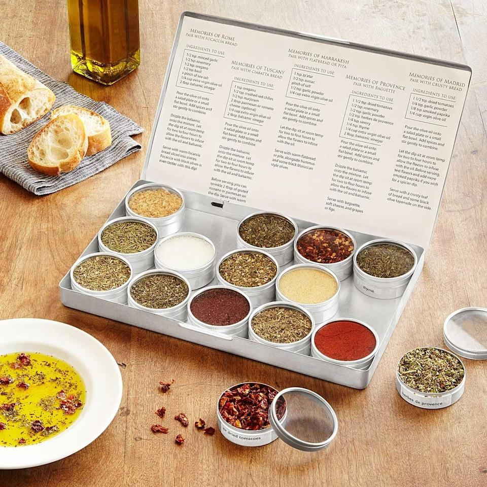 <p>This <span>Gourmet Oil Dipping Spice Kit</span> ($39), which includes flavors from four corners fo the world, will take them on an international culinary tour.</p>
