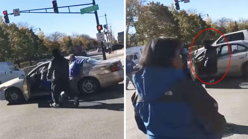 One of the man appeared to get into the victim's car and close the door. Photo: YouTube