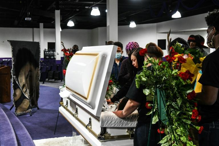 Family and friends of Daunte Wright mourn during the public viewing of his open casket at Shiloh Temple International Ministries in Minneapolis on April 21, 2021