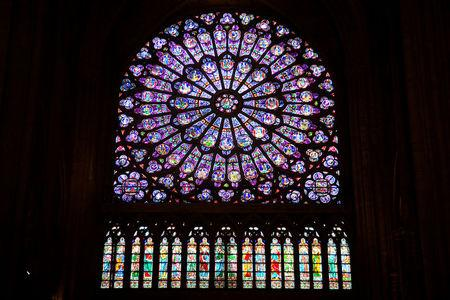 FILE PHOTO: View of the north rose window of Notre-Dame de Paris Cathedral in Paris
