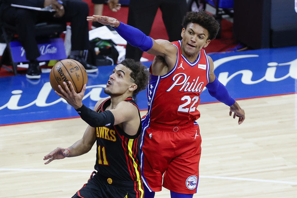 Trae Young looks to put the Hawks up 2-0 on the 76ers. (Photo by Tim Nwachukwu/Getty Images)