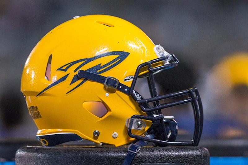 TOLEDO, OH - NOVEMBER 02: A general view of the Toledo Rockets helmet during game action between the Northern Illinois Huskies and the Toledo Rockets on November 2, 2017 at Glass Bowl Stadium in Toledo, Ohio, Toledo defeated Northern Illinois 27-17. (Photo by Scott W. Grau/Icon Sportswire via Getty Images)