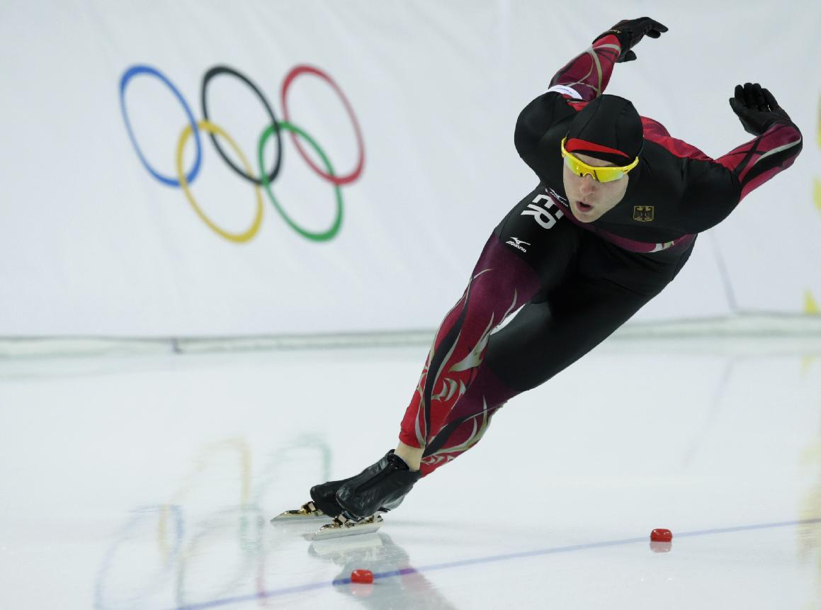 Germany's Nico Ihle competes in the men's 1,000-meter speedskating race at the Adler Arena Skating Center during the 2014 Winter Olympics in Sochi, Russia, Wednesday, Feb. 12, 2014. (AP Photo/Matt Dunham)