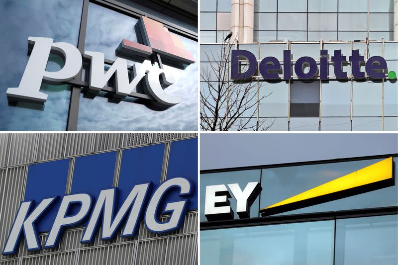 A combination of file pictures shows logos of Price Waterhouse Coopers, Deloitte, KPMG and Ernst & Young