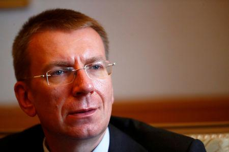 FILE PHOTO: Latvia's Foreign Minister Edgars Rinkevics speaks during an interview in Riga, Latvia May 23, 2018. Picture taken May 23, 2018. REUTERS/Ints Kalnins/File Photo