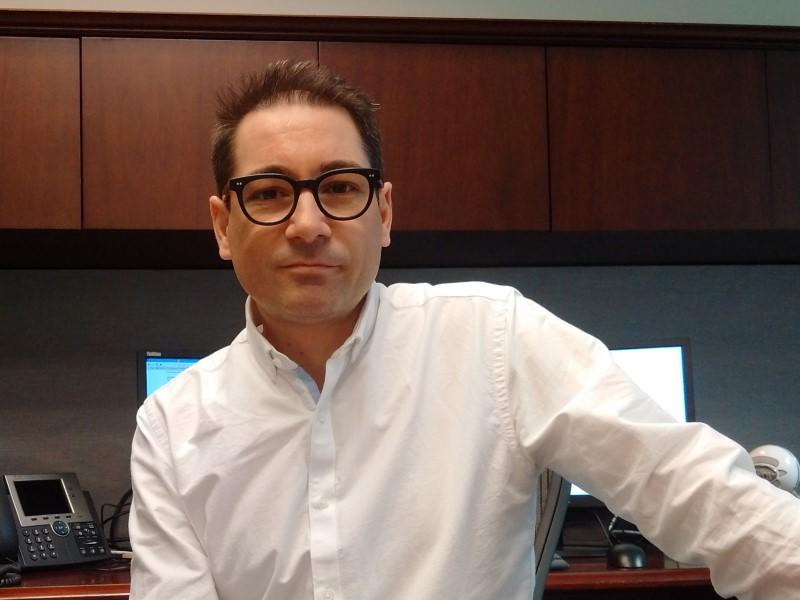 Anthony Di Iorio is seen in his office in Toronto, in this picture taken March 2, 2016. Di Iorio, founder of the Canadian Bitcoin Alliance and other cryptocurrency initiatives, has joined the Toronto Stock Exchange as its new chief digital officer. Picture taken March 2, 2016. REUTERS/Ethan Lou