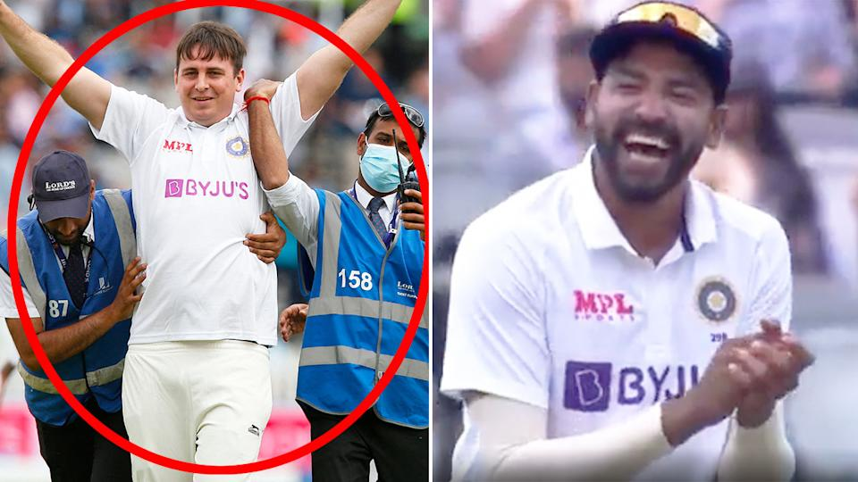 Seen here, a pitch invader poses as an India cricket team player in a hilarious incident.