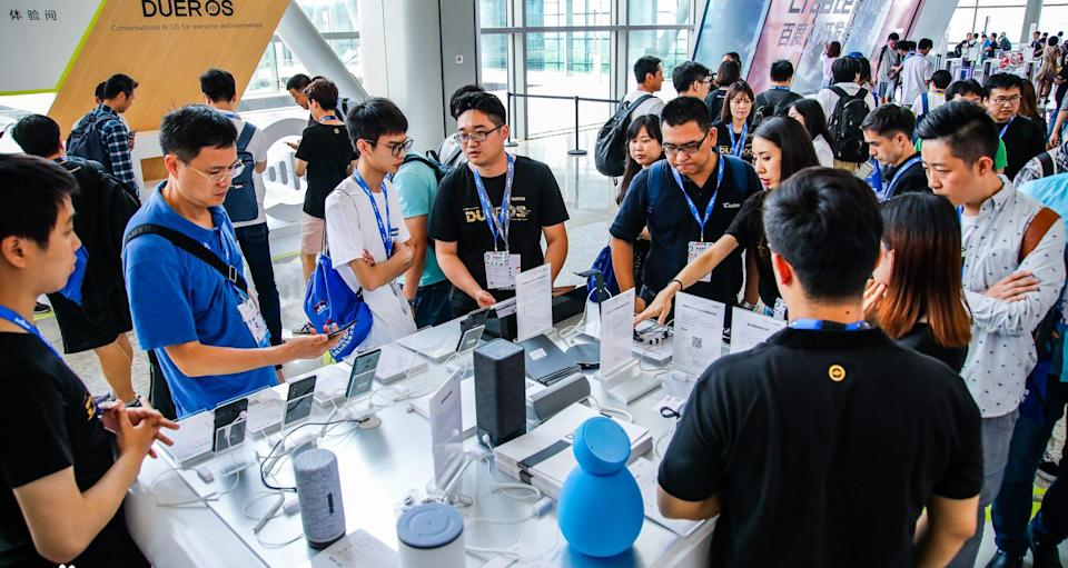 Devices controlled by DuerOS are on display at Baidu World 2018. Photo: Baidu