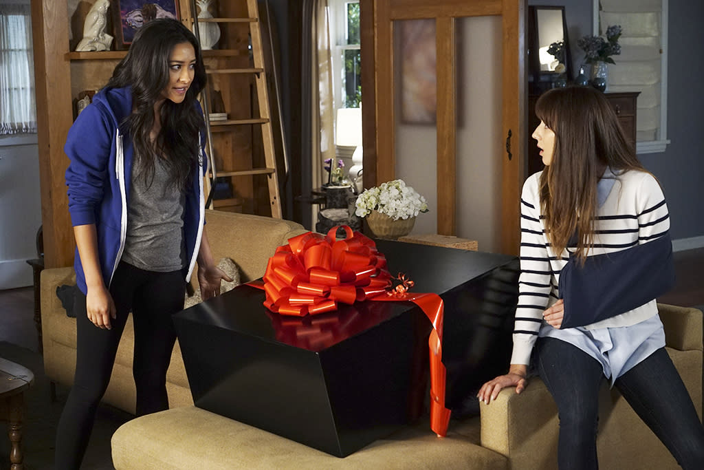 <p>Shay Mitchell as Emily Fields and Troian Bellisario as Spencer Hastings in Freeform's <i>Pretty Little Liars</i>.<br /><br />(Photo: Eric McCandless/ABC) </p>