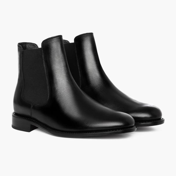 """<p>thursdayboots.com</p><p><strong>$190.00</strong></p><p><a href=""""https://thursdayboots.com/products/mens-cavalier-chelsea-boot-black?collection=boots"""" rel=""""nofollow noopener"""" target=""""_blank"""" data-ylk=""""slk:BUY IT HERE"""" class=""""link rapid-noclick-resp"""">BUY IT HERE</a></p><p>If your shoe collection is set with a black and brown pair, you can look to expanding what <em>dress </em>shoe actually means to you. Getting a sleek pair of boots can work for the right, less formal occasion. </p>"""