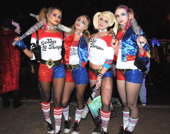 """<p>You can never have too many Harley Quinns, and you and your girls will have a blast dressing up as Margot Robbie's <em>Suicide Squad</em> character. </p><p><a class=""""link rapid-noclick-resp"""" href=""""https://www.amazon.com/HDE-Womens-Metallic-Halloween-Costume/dp/B01M1A0P06?tag=syn-yahoo-20&ascsubtag=%5Bartid%7C10070.g.3083%5Bsrc%7Cyahoo-us"""" rel=""""nofollow noopener"""" target=""""_blank"""" data-ylk=""""slk:SHOP RED-AND-BLUE SHORTS"""">SHOP RED-AND-BLUE SHORTS</a></p>"""