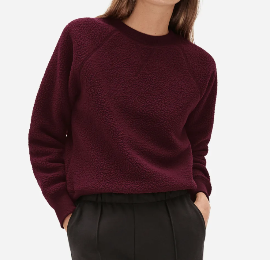 The ReNew Fleece Raglan Sweatshirt in Oxblood